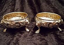 (2) 1746 Georgian Sterling Silver Cauldron Salts