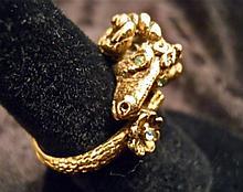 10k Gold Men's Ram's Head Figural Ring