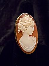 14k + Victorian Gold Shell Cameo Ring