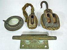 Antique Nautical Items Blocks, Cleat, Porthole (4)