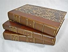 III Vol, French Leather Bound Books, Illustrated