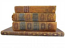 Collection of Four 19th C. Leather Bound Books