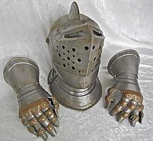 20th C. Armor Grouping, Great Helm and Gauntlets