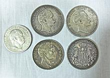 19th or 20th C. German Silver Crown Coins (5)
