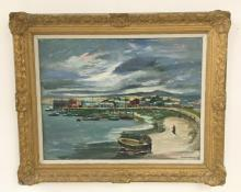 MISCHA KALLIS O/C TOWN SEASCAPE 1950, BOATS IN WATER, MAN WALKING WITH FISHING POLE,  AND MAN WORKING ON BOAT IN FOREGROUND. IN FRAME OF THE PERIOD, CANVAS MEASURES 23