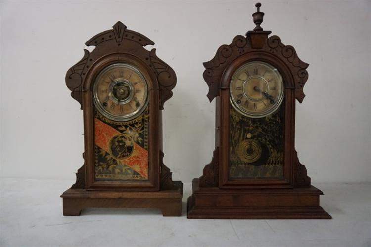 (2) VICTORIAN MANTEL CLOCKS, BOTH WALNUT, ORIGINAL GLASS ON DOORS, ONE IS A F. KROEBER, OTHER ONE PROBABLY ALSO, LABEL ON ONE, PARTIAL ON OTHER, PENDULUMS THERE, NO KEYS. FROM THE MARS COLLECTION, AS PICTURED