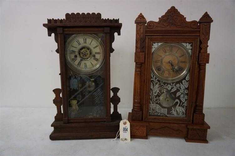 (2) VICTORIAN WALNUT MANTEL CLOCKS, WITH ORIGINAL DECORATED GLASS, PENDULUMS, NO KEYS, RUNNING, FROM THE MARS COLLECTION. PROBABLY WATERBURY OR KROEBER, AS PICTURED