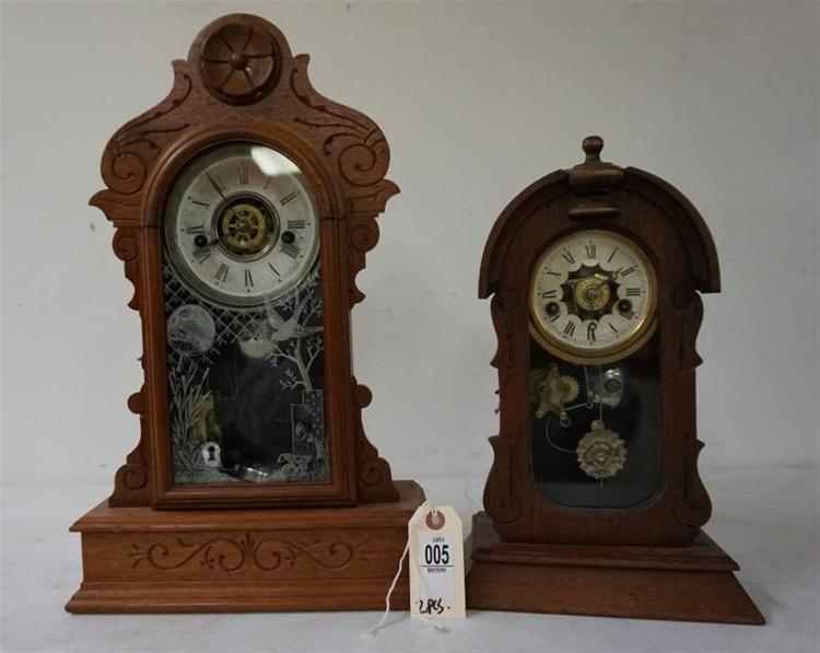 (2) VICTORIAN WALNUT MANTEL CLOCKS INCLUDING LARGER WATERBURY & SMALLER KROEBER. BOTH RUNNING, HAVE PENDULUMS, WATERBURY HAS KEY, FROM THE MARS COLLECTION, AS PICTURED