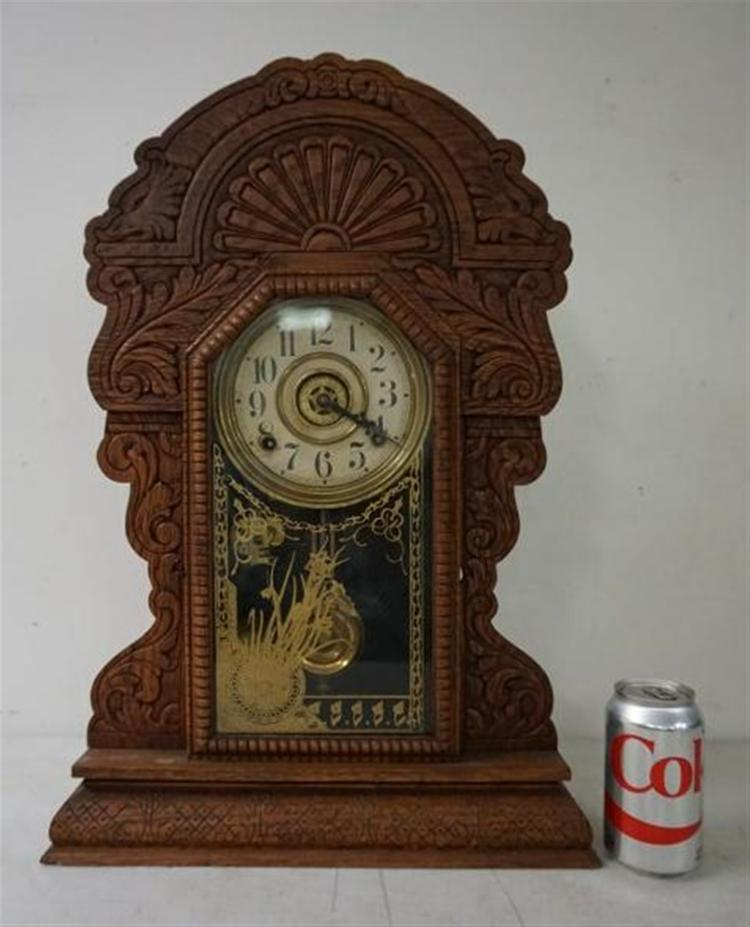 SESSIONS OAK GINGERBREAD MANTEL CLOCK, RUNNING, HAS PENDULUM, ORIGINAL DECORATED DOOR. FROM THE MARS COLLECTION, AS PICTURED