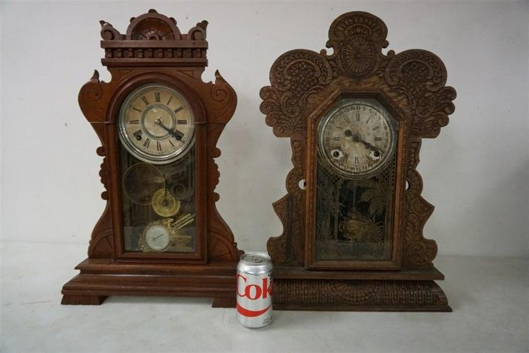(2) VICTORIAN MANTEL CLOCKS INCLUDING OAK GINGERBREAD WITH CRACK IN GLASS DOOR, HAS PENDULUM, RUNNING, AND WALNUT MANTEL CLOCK WITH PENDULUM, RUNNING, NO KEY. FROM THE MARS COLLECTION, AS PICTURED