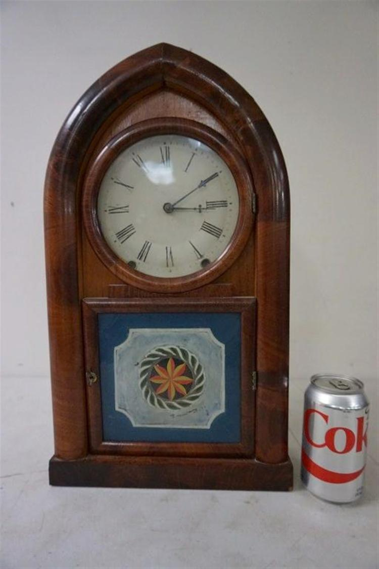 W.S. JOHNSON MAHOGANY BEEHIVE CLOCK WITH REVERSE PAINTED DOOR, PAPER LABEL INTACT, HAS PENDULUM, NO KEY, MEASURES 19