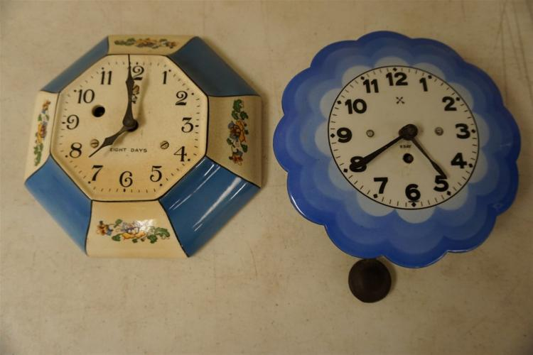 2 CIRCA 1920'S KITCHEN CLOCKS, BOTH 8 DAY, 1 PORCELAIN THE OTHER ENAMEL, FROM THE MARS COLLECTION, AS PICTURED