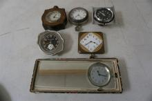 6 OLD AUTOMOBILE RELATED CLOCKS, INCLUDING WALTHAM, FORD, PHINNEY WALKER& STANDARD MIRROR IN ORIGINAL BOX, FROM THE MARS COLLECTION, AS PICTURED
