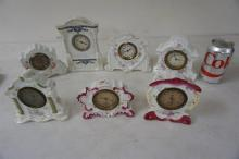 7 PORCELAIN NOVELTY CLOCKS, FROM THE MARS COLLECTION, AS PICTURED