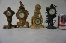 4 NOVELTY CLOCKS, 3 WITH FIGURES, TALLEST MEASURES 11