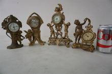 4 CHERUB FIGURAL NOVELTY CLOCKS, TALLEST ONE MEASURES 10