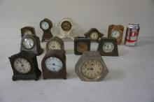 12 VARIOUS MINIATURE CLOCKS, ALL METAL, AS IS, FROM THE MARS COLLECTION, AS PICTURED