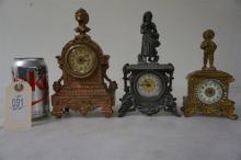 3 MINIATURE FIGURAL TABLE CLOCKS, 1 W/RHINESTONES & BRONZE FINISH, FROM THE MARS COLLECTION, AS PICTURED