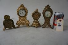 4 WHITE METAL MINIATURE CLOCKS, FROM THE MARS COLLECTION, AS PICTURED