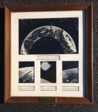 AIR FORCE PHOTOGRAPHS OF EARTH AND SUN, MAY-AUGUST 1959. FROM ESTATE OF STANLEY KRAININ WHO WORKED FOR GE MISSILE AND SPACE VEHICLE DEPARTMENT, HE WAS AN ENGINEER THAT WORKED ON THE CAMERAS THAT TOOK THESE PICTURES. THIS WAS PRESENTED TO HIM. THE PLAQUE READS; AIR FORCE PHOTOGRAPHS OF EARTH AND SUN AS SEEN FROM ALTITUDES OF 100 TO 800 MILES IN OUTER SPACE  FRAMES FROM 16 MM CAMERA CARRIED AND RECOVERED IN GENERAL ELECTRIC RE-ENTRY/RECOVERY VEHICLES  UNITES STATES AIR FORCE BALLISTIC MISSILE DIVISION LOS ANGELES, CALIF.  GENERAL ELECTRIC MISSILE AND SPACE VEHICLE DEPARTMENT, PHILA., PA