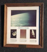 AIR FORCE COLOR PHOTOGRAPHS OF EARTH, ATLAS MISSILE, AND STARS. FROM ESTATE OF STANLEY KRAININ WHO WORKED FOR GE MISSILE AND SPACE VEHICLE DEPARTMENT, HE WAS AN ENGINEER THAT WORKED ON THE CAMERAS THAT TOOK THESE PICTURES. THIS WAS PRESENTED TO HIM. THE PLAQUE READS; AIR FORCE COLOR PHOTOGRAPHS OF EARTH, ATLAS MISSILE, AND STARS AS SEEN FROM ALTITUDES OF 250 TO 700 MILES IN OUTER SPACE. FRAMES FROM 70MM CAMERA CARRIED AND RECOVERED IN GENERAL ELECTRIC RVX-2A RE-ENTRY/RECOVERY VEHICLE NO. 423 LAUNCHED BY ATLAS MISSILE NO. 71D ON OCT. 13, 1960. UNITED STATES AIR FORCE BALLISTIC MISSILE DIVISION, LOS ANGELES, CALIF. GENERAL ELECTRIC MISSILE AND SPACE VEHICLE DEPARTMENT, PHILA., PA., FRAME MEASURES 31