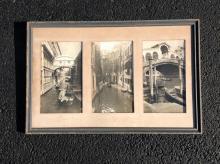 3 CIRCA 1930'S VENETIAN CANAL SCENE BLACK & WHITE PHOTOGRAPHS, PHOTOS MEASURE 9 3/4