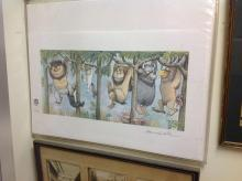 MAURICE SENDAK SIGNED PRINT WHERE THE WILD THINGS ARE:HANGING FROM TREE LIMBS. MAX IN HIS WOLF SUIT SWINGING ON A TREE LIMB ALONG WITH 4 WILD THING CREATURES IN A FESTIVE RUMPUS, HANGING FROM TREE LIMBS. FOR THE FIRST TIME THE IMAGE IS PRINTED ON A SINGLE SHEET OF PAPER. IMAGE MEASURES 9 1/4