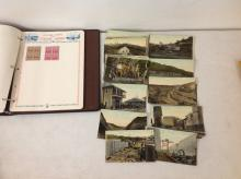 LOT OF 46 PANAMA CANAL POSTCARDS PLUS CANAL ZONE POSTAGE STAMP ALBUM WITH SOME STAMPS, AS PICTURED