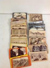 LOT OF 55 STEREOVIEWS PLUS 1 CABINET CARD, INCLUDES 28 FLAT MOUNTS, 26 CURVED MOUNTS, 6 ARE OF BLACKS, AND 1 CABINET CARD, AS PICTURED