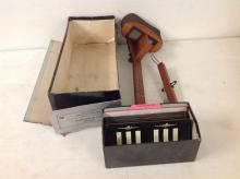 1940 AVIATOR DEPTH PERCEPTION TEST STEREOSCOPE, VIEWER, 23 CARDS AND SCORING SHEETS, AS PICTURED