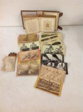 LOT OF STEREOVIEWS AND CDV'S- INCLUDES 17 REAL PHOTO STEREOVIEWS, 49 COLORED LITHOS OF JAPANESE RUSSIAN SERIES, CDV ALBUM WITH 10 CDV'S AND 1 TINTYPE, AND A PAIR OF ANTIQUE LEATHER CHILD'S GLOVES IN ENVELOPE WITH WILSON'S GLOVES WRITTEN ON IT, AS PICTURED