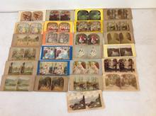 LOT OF 26 TINTED STEREOVIEWS, ALL REAL PHOTO, 23 FLAT MOUNTS, 3 CURVED MOUNTS, AS PICTURED