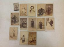 LOT OF 12 CDV'S PLUS ADDITIONAL SMALL CDV, INCLUDES MILITARY, HENRY WARD BEECHER, HUNTER, ETC, AS PICTURED