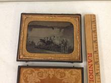 HALF-PLATE RUBY AMBROTYPE OF NIAGARA FALLS WITH PEOPLE IN CARRIAGE AND 2 WHITE HORSES, HOUSED IN A FULL SPLIT LEATHER CASE, AS PICTURED