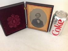 HALF-PLATE AMBROTYPE IN ATTRACTIVE UNION CASE (BERG 1-12, AMERICAN COUNTRY LIFE 2), 2 SMALL CORNER CHIPS, OTHERWISE VERY NICE CONDITION, AS PICTURED