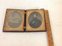 RARE HALF-PLATE AMBROTYPE OF VERY FAT WOMAN PLUS HALF-PLATE AMBROTYPE OF BEARDED MAN IN A RARE HALF-PLATE UNION CASE (BERG 3-4, GEOMTRIC). SHE IS POSSIBLY A SIDESHOW PERFORMER, AS PICTURED
