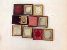 LOT OF 7 CASED IMAGES INCLUDING 6 DAGUERREOTYPES AND 1 TINTYPE, 6 ARE SIXTH-PLATES AND 1 IS NINTH-PLATE, AS PICTURED