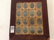 ORIGINAL WALL FRAME WITH 16 NINTH-PLATE AMBROTYPES & TINTYPES, INCLUDING 2 CIVIL WAR SOLDIERS, FRAME MEASURES 13