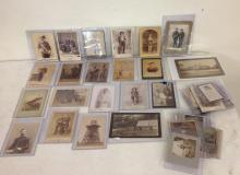 LOT OF 40 FINE IMAGES, MOSTLY CABINET CARDS WITH 1 TIN A FEW LARGER, A FEW SMALLER. MILITARY, ODDITIES, ACTRESSES, OCCUPATIONAL, ETC, AS PICTURED