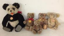 5 OLDER STEIFF BEARS, ALL WITH BUTTONS, 4 WITH ORIGINAL TAGS, INCLUDING 8