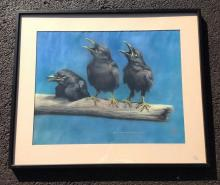 ROBERT DEPEW REYNOLDS PASTEL OF 3 CROWS ON A BRANCH, PAINTING MEASURES 20