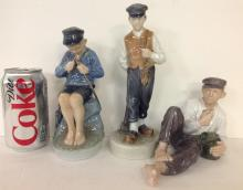 LOT OF 3 ROYAL COPENHAGEN FIGURINES INCLUDING NO. 865 BOY LAYING DOWN EATING, MEASURES 4 1/2