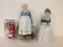 LOT OF 2 ROYAL COPENHAGEN FIGURINES INCLUDING NO. 815 GIRL HOLDING VESSELS, MEASURES 8 1/2