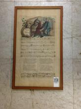 18TH C. HAND COLORED MUSICAL ENGRAVING, TITLED ADVICE TO CHLOE, FRAME MEASURES 16 3/4