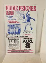 EDDIE FEIGNER CARDBOARD POSTER SIGNED BY ALL 4 PLAYERS, VERY GOOD CONDITION, MEASURES 22