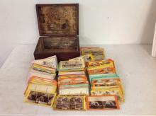 LARGE LOT ESTATE FOUND STEREOVIEW CARDS, MOST REAL PHOTO, INCLUDING AMERICAN AND SOME FOREIGN, INCLUDE 6 COLORADO SCENES, ALSO LANDSCAPES, CITY VIEWS, PEOPLE, TRANSPORTATION, MONUMENTS, ETC, APPROX 300, GREAT LOT FOR DEALER TO SORT OUT, IN OLD WOODEN BOX IT WAS FOUND IN, AS PICTURED