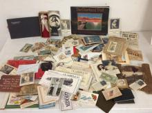 ESTATE LOT OF EARLY EPHEMERA INCLUDING ADVERTISING BLOTTERS, BOOKLETS, AND RELATED MATERIAL, GREAT LOT FOR DEALER TO SORT, AS PICTURED