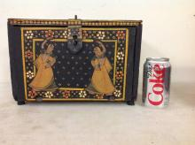 INDIAN HAND PAINTED MULTI DRAWER BOX W/DROP DOWN DOOR, SCENES ALL THE WAY AROUND, BOX MEASURES 12 1/2