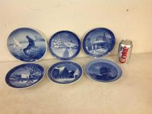 6 ROYAL COPENHAGEN PLATES, BLUE & WHITE SCENIC PLATES, DATES AND TITLED AS PICTURED, 5 OF THEM MEASURE 7