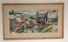 CLIFFORD JACKSON IMPRESSIONIST O/C SEASCAPE TOWN BY THE SEA, WITH BOATS, BUILDINGS AND OCEAN IN BACKGROUND. MID CENTURY IN AGE, CANVAS MEASURES 24 1/2